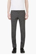 TIGER OF SWEDEN Black & White Wool Check Trousers for men
