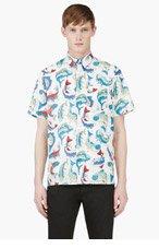 KENZO White & Blue fish print shirt for men