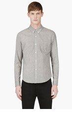 BAND OF OUTSIDERS White & Green Foulard Print Shirt for men