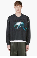 KENZO Black Wave Graphic Marled Sweater for men