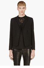 SAINT LAURENT Black wool & silk chain-trimmed blazer for men