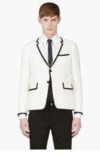 THOM BROWNE White Black-Trimmed Blazer for men