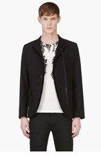 ANN DEMEULEMEESTER Black Linen Blend Velvet Trim Blazer for men