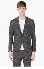 TIGER OF SWEDEN Black & White Wool Check Blazer for men