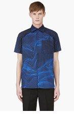 CHRISTOPHER KANE Blue Digital Graph Print Shirt for men