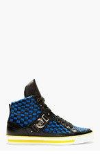 VERSACE Black & Blue Woven High-Top Sneakers for men