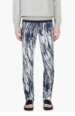 KENZO Navy & White HIGH WAVES Painted JEANS for men