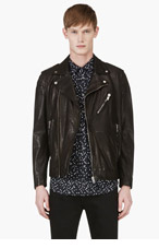 DIESEL Black Grained Leather Biker Jacket for men
