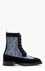 THOM BROWNE Navy Longwing Mariner Ankle Boots for men