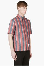 THOM BROWNE SSENSE EXCLUSIVE Red & Navy Striped Poolside Shirt for men