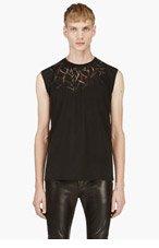 SAINT LAURENT Black SLEEVELESS SLASH T-shirt for men