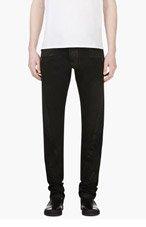 BALMAIN Black Waxed Biker Jeans for men