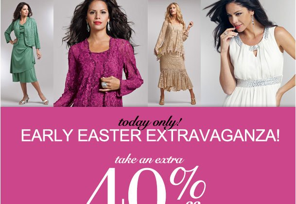 Today Only! Take an Extra 40% off items from a Special Collection of Easter styles! Use RDFLASH