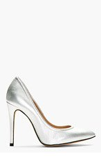 IRO Silver Leather Pointed Pumps for women
