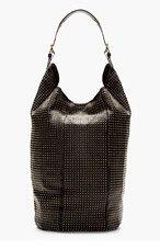 GIUSEPPE ZANOTTI Black Leather Studded Bucket Bag for women