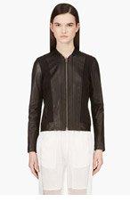 HELMUT LANG Black Leather Strip Jacket for women