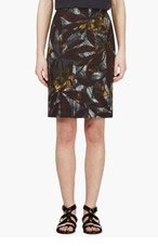MARC JACOBS Plum & Teal Leaf Printed Pencil Skirt for women