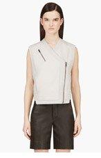 HELMUT LANG Grey paneled Leather Biker Vest for women