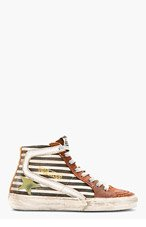 GOLDEN GOOSE Black & Rust Leather Striped Slide High-top sneakers for women