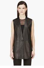 HELMUT LANG Black Leather Bonded Stilt Vest for women