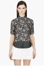 MARC JACOBS Charcoal & White Silk Floral Blouse for women
