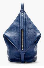 KARA Navy Leather Foldover Zip Dry Backpack for women