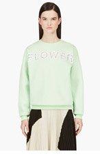 CHRISTOPHER KANE Mint Green Lace Flower Embroidery Sweatshirt for women