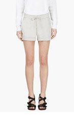 HELMUT LANG Grey Leather Panel Shorts for women