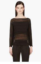 HELMUT LANG Black Semi-sheer Linear Degrade Sweater for women