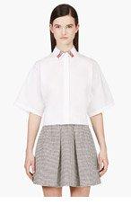 KENZO White Oversize Sleeve Collared Blouse for women