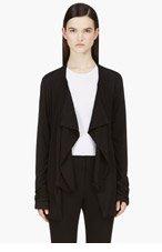 RAD BY RAD HOURANI Black Draped Jersey Unisex Cardigan for women