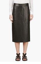 HELMUT LANG Black Leather High-Waisted Stilt Skirt for women
