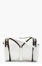 KARA White Pebbled Leather Zip Detail Shoulder Bag for women