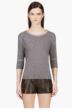 HELMUT LANG Grey Cropped Sleeve Volumized Sweatshirt for women