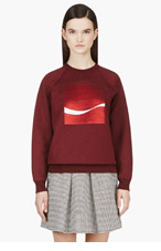 MARC JACOBS Burgundy Sequin Patch Cashmere Blend Sweater for women