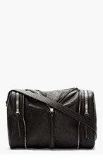 KARA Black Pebbled Leather Zip Detail Shoulder Bag for women