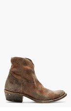 GOLDEN GOOSE Burgundy Leather Distressed Young Boots for women