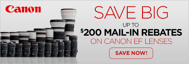 Save up to $200 on Canon EF Lenses