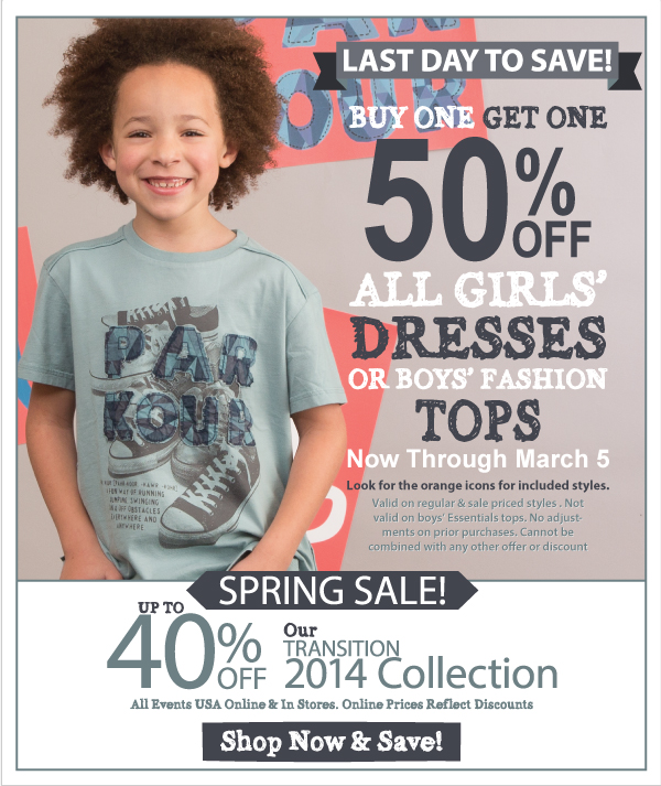 Last Day! BOGO 50% Off All Dresses & Boys' Fashion Tops + Spring Sale! Up to 40% Off - Transition Fashions Continues