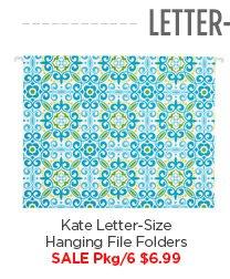 Kate  Letter-Size Hanging File Folders SALE Pkg/6 $6.99