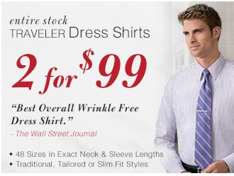Traveler Dress Shirts - 2 for $99 USD