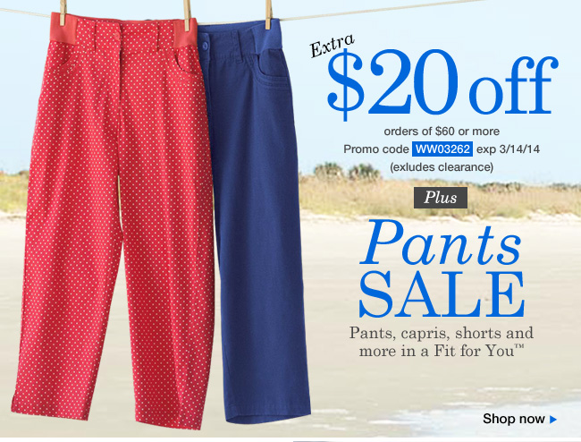 Shop $20 OFF orders of $60 or more!Use Promo Code WW03262.