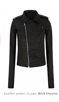 Leather jacket, £1,390 Rick Owens