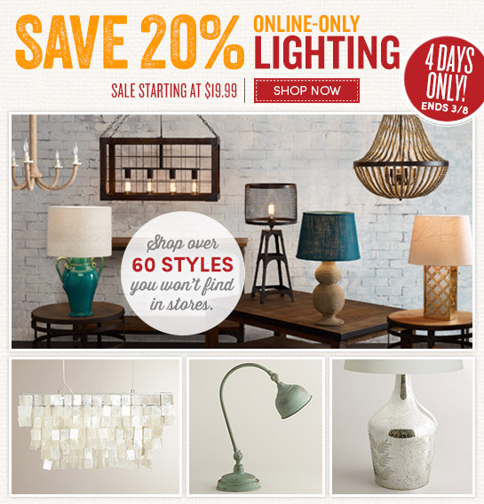 Save 20% on online-only lighting