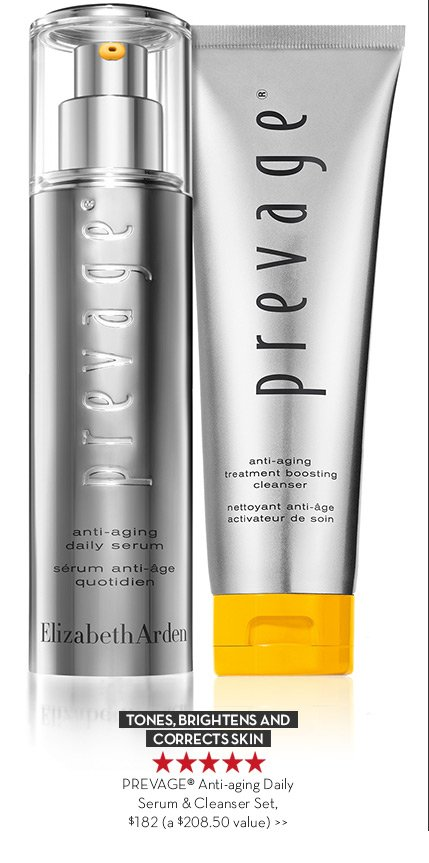 TONES, BRIGHTENS AND CORRECTS SKIN. PREVAGE® Anti-aging Daily Serum & Cleanser Set, $182 (a $208.50 value.)