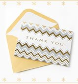 Silver & Gold Chevron Thank You Notes