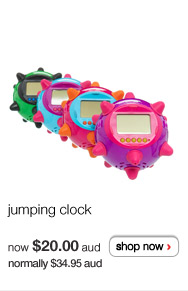 jumping clock - now $20.00aud normally $34.95aud - shop now >