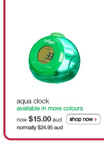 aqua clock - available in more colours - now $15.00aud normally $24.95aud - shop now >
