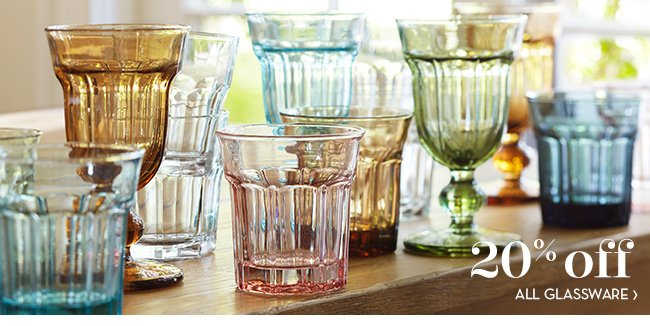 20% OFF ALL GLASSWARE