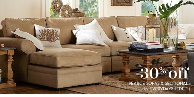 30% OFF PEARCE SOFAS & SECTIONALS IN EVERYDAYSUEDE